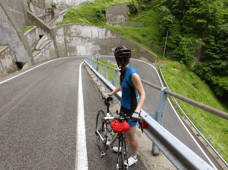 Wielrennen in Dolomieten op de Passo San Boldo